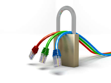 3 Network cables and padlock Stock Photo - 8431007