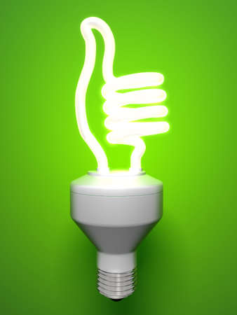 小形変形蛍光ランプの親指 写真素材