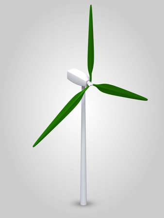 3D Wind Turbine with green wings incl.