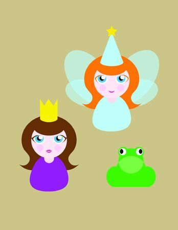 vectore: Set of 3 fairytale characters including a fairy, a princess and a frog isolated on a brown background