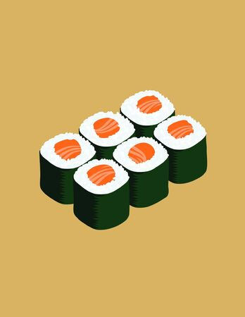 6 delicious salmon maki sushi isolated on a brown background