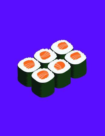 maki: 6 delicious salmon maki sushi isolated on a purple background Illustration