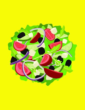Mixed salad with green salad, rocket, tomato, olives, cucumber, red onions and feta isolated on a bright yellow background
