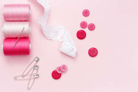 needle laces: Shades of pink. Sewing equipment and material for fabric