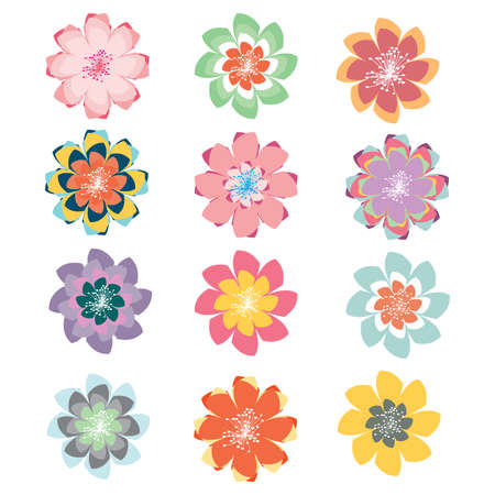 Set of pastel vector abstract flowers