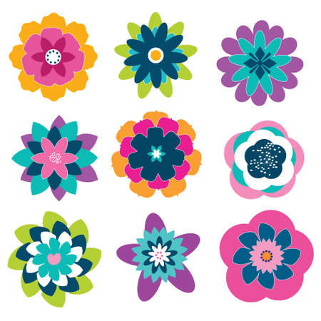 Set of colourfull digital abstract flowers