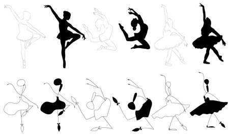 Set of line art, abstractand  silhouette Ballerinas