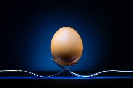 Egg on forks at a low angle view with a spot light on the classic blue background, fine art Zdjęcie Seryjne