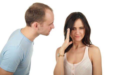 A young couple arguing in studio Stock Photo