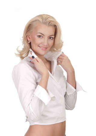 a beautiful young woman in white shirt in studio Stock Photo