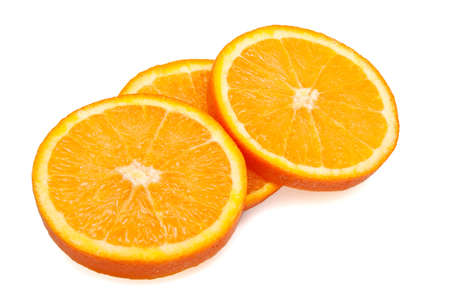 three orange slices on white background Stock Photo - 14545305