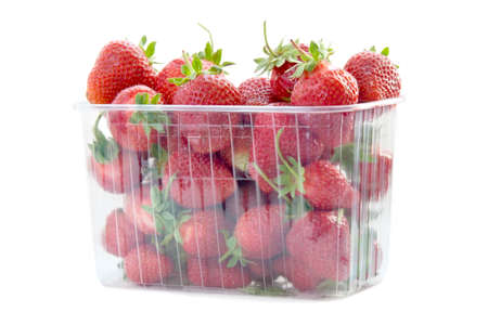 Fresh strawberries in plastic box on white background Stock Photo - 14572430