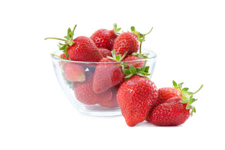 Fresh strawberries in a glass dish on white background  Stock Photo - 14572426