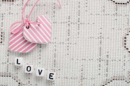 pink hearts on the white napkin Stock Photo