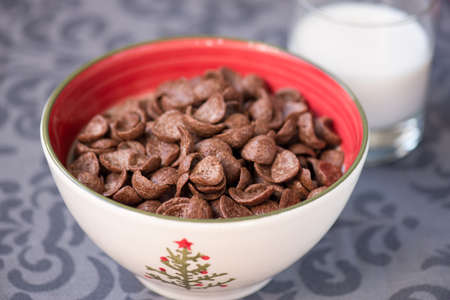 m�sli schale: breakfast chocolate cornflakes cereal bowl