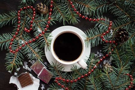 Holiday Christmas still life with cup of coffee, chocolate Standard-Bild