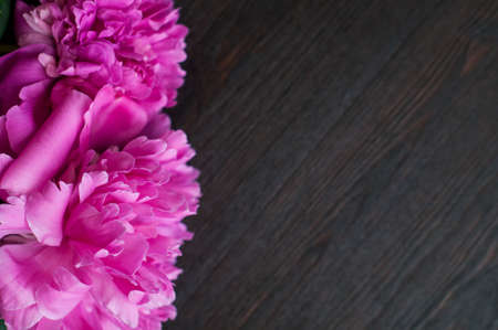 peonies: fresh pink peonies on rustic wooden background