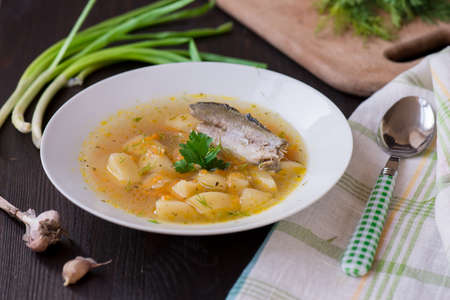 river fish: Homemade soup of river fish in the plate Stock Photo