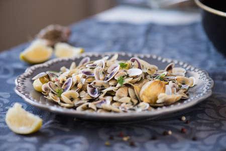 fried clams with roasted paste,garlic, lemon, cilantro