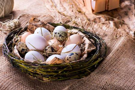 gamme de produit: quail and brown eggs in a nest Banque d'images