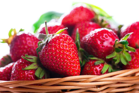 fresh strawberries close up shot with white space Stock Photo