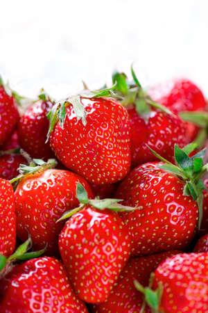 fresh strawberries close up shot with white space Standard-Bild