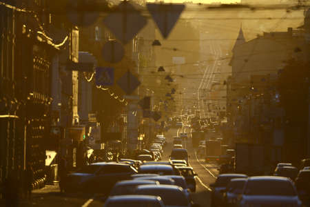 street with many cars in smog Stock Photo