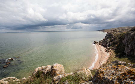 Black sea coast in cloudy weather.