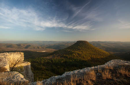 conical mesa at sunset in Crimea Stock Photo