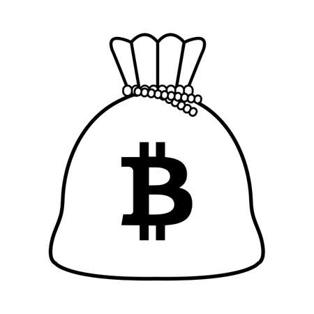 Bitcoin money bag isolated icon vector illustration design