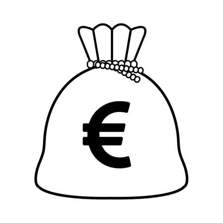Euro money bag isolated icon vector illustration design