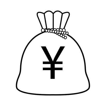 Yen money bag isolated icon vector illustration design