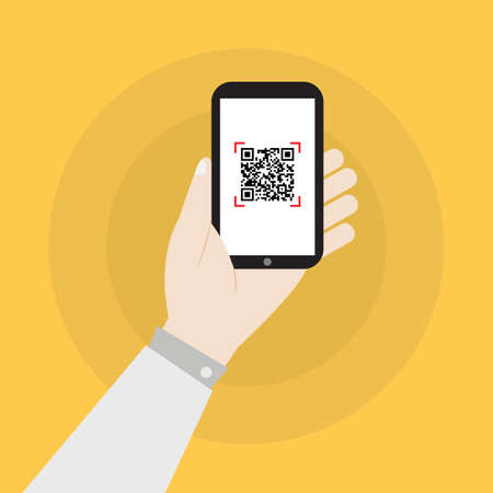 Hand holding smartphone with qr code icon vector illustration 向量圖像