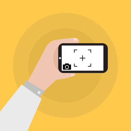 touch screen interface: Hand holding smartphone with camera icon vector illustration Illustration