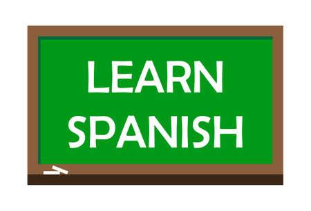 Learn Spanish write on green board.