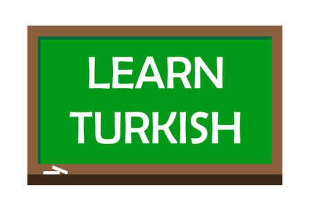 Learn Turkish write on green board.