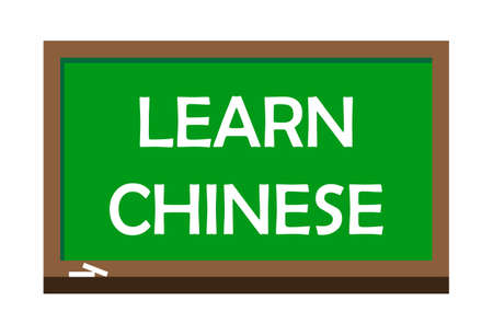 Learn Chinese write on green board.