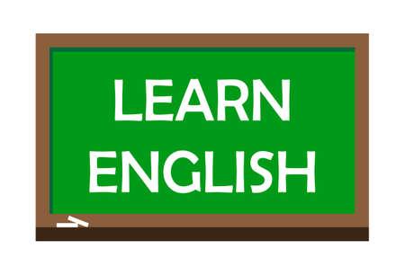 Learn English write on green board.