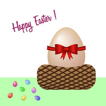 Happy Easter with an egg basket. Vector illustration. Free Royalty Free Images. Illusztráció