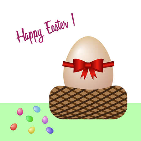 Happy Easter with an egg basket. Vector illustration. Free Royalty Free Images. Illustration