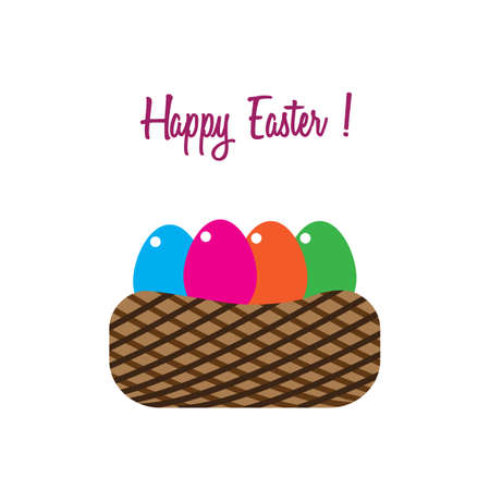 Happy Easter with eggs in basket. Vector illustration. Free Royalty Free Images.