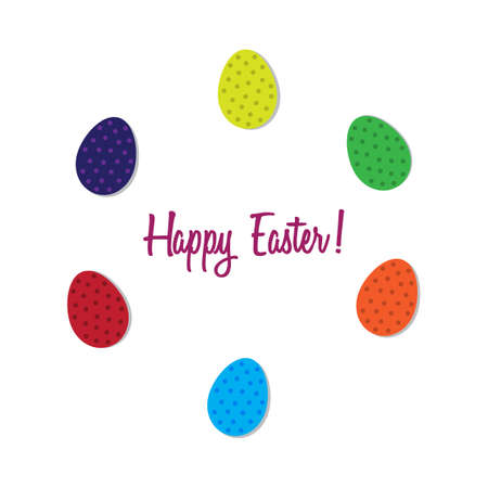 Happy Easter with eggs in the circle. Vector illustration. Free Royalty Free Images.