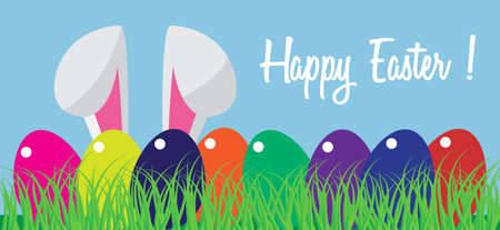 Happy Easter with rabbit and eggs. Vector illustration. Free Royalty Free Images.