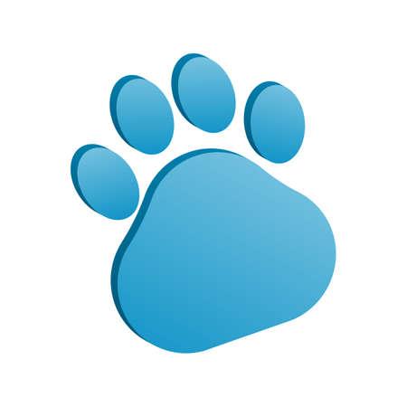 3d animal paw icon vector illustration.