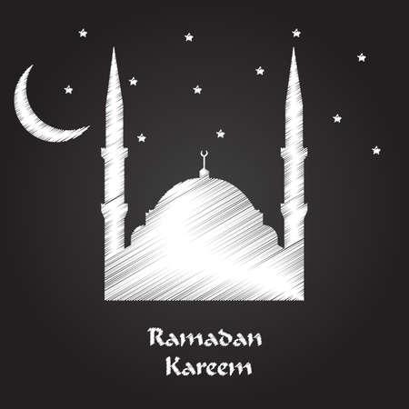 ramadan kareem greeting card with tight effect vector illustration