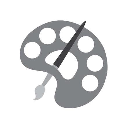 gray palette and brush icon vector illustration Illustration