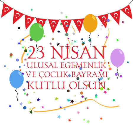 April 23 national sovereignty and childrens day in Turkey. Illustration
