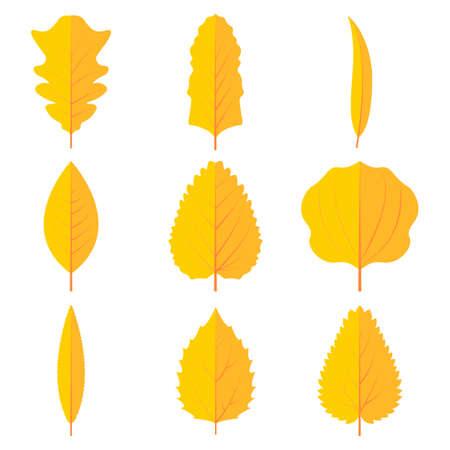 Autumn leaves set vector icon design illustration. Stock Illustratie
