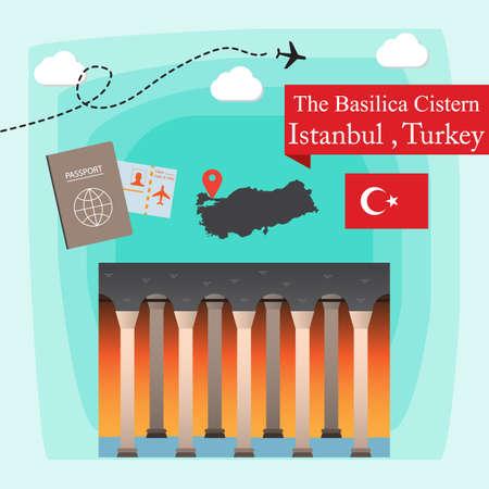 The Basilica Cistern, Istanbul Turkey Concept Vector Illustration Illustration