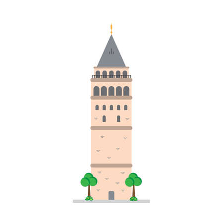 Galata Tower, Istanbul Turkey Isolated Vector Illustration